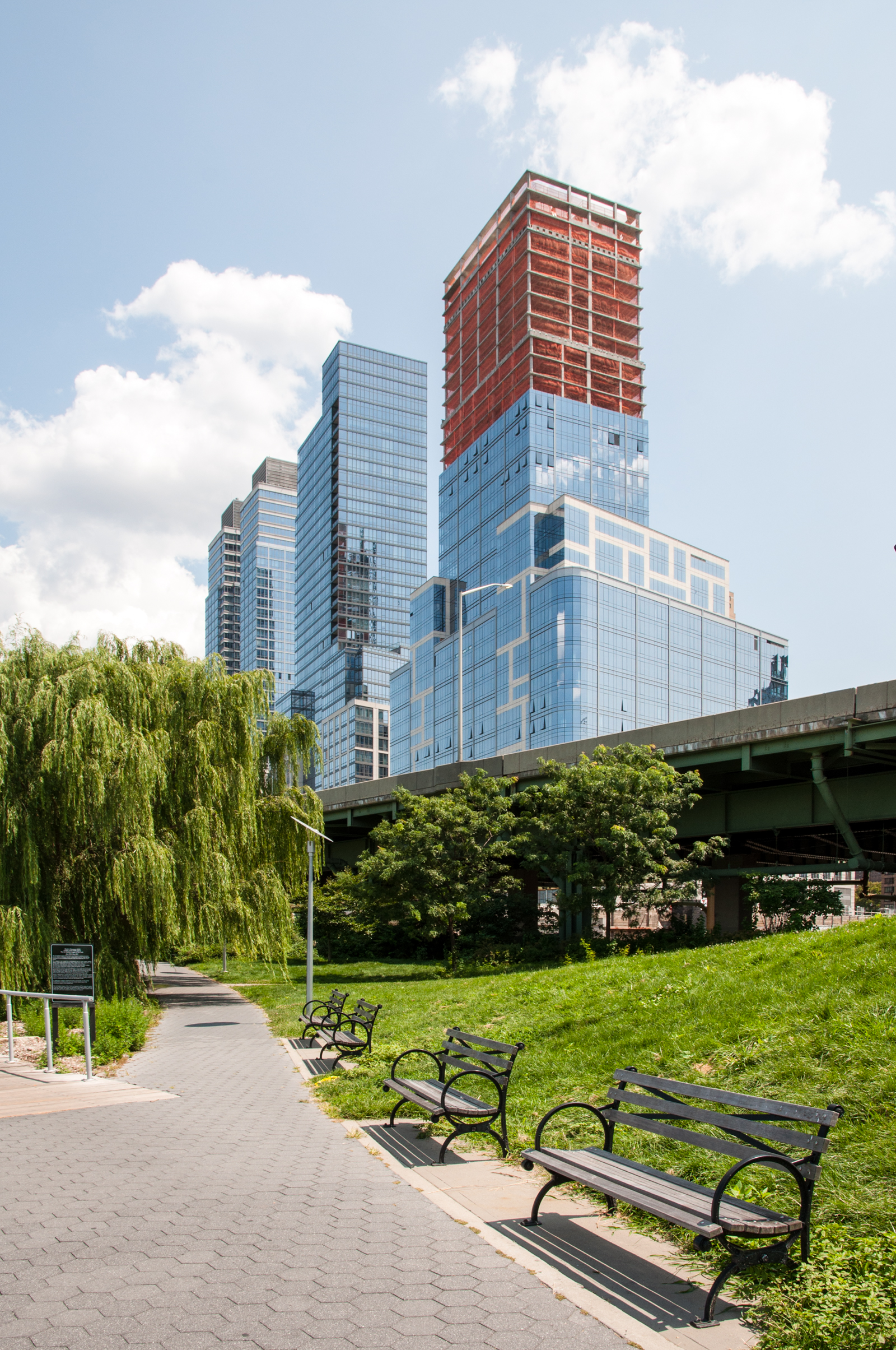 Looking north from Riverside Park South to One Riverside Park (right) and the other towers of Riverside South (left).