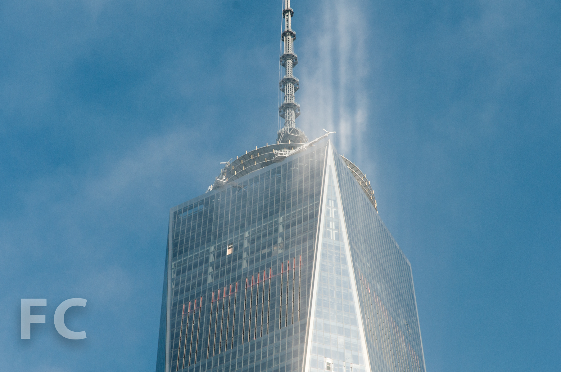 The top floors and spire of 1 WTC.
