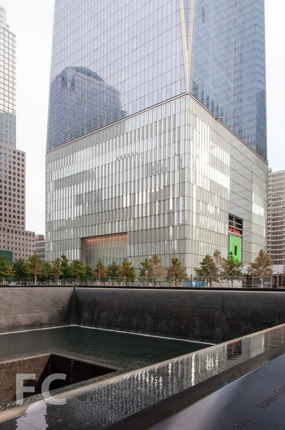 The podium and lower floors of 1 WTC from the memorial pools.