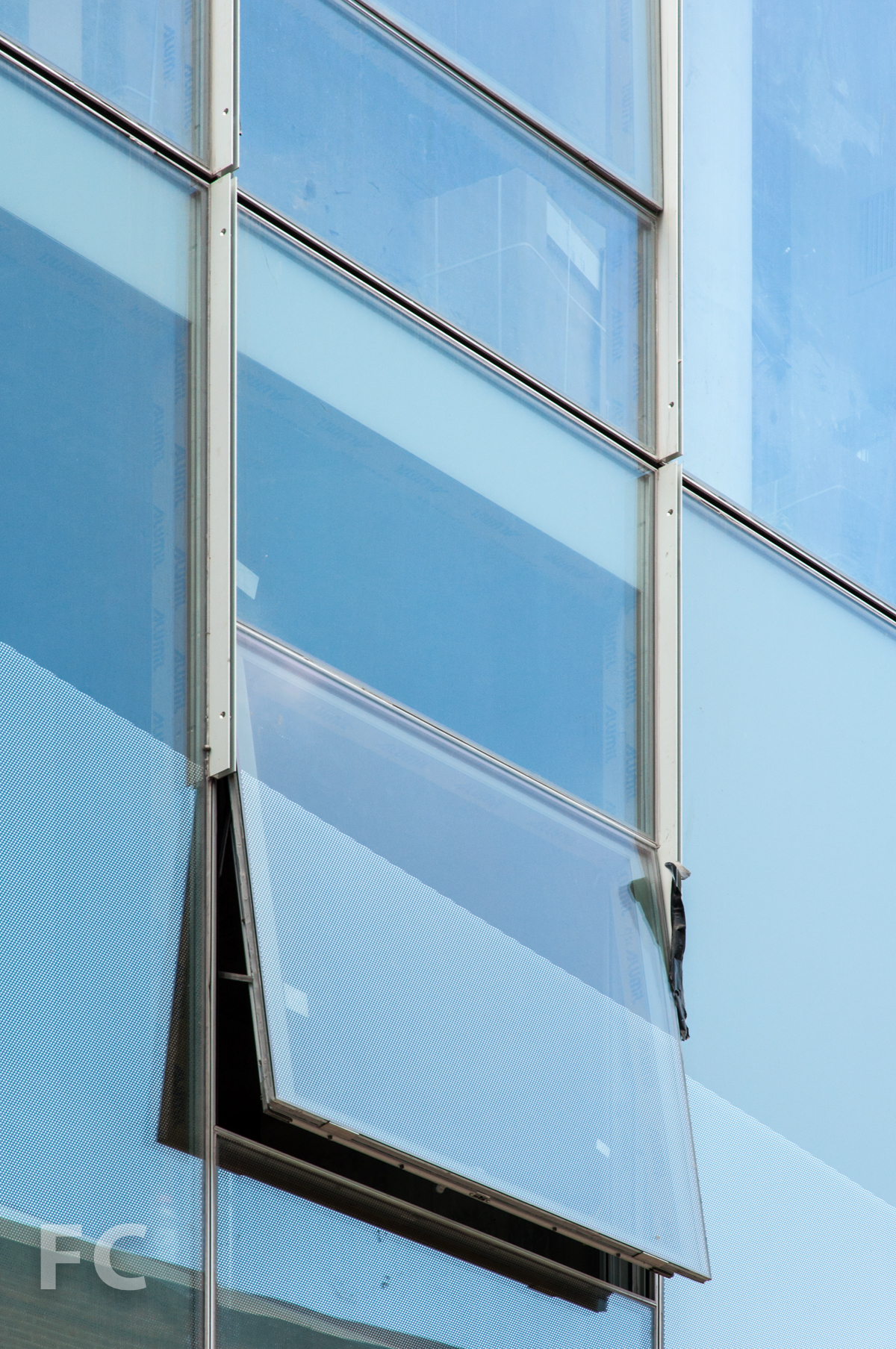 Detail of operable window and frit pattern.