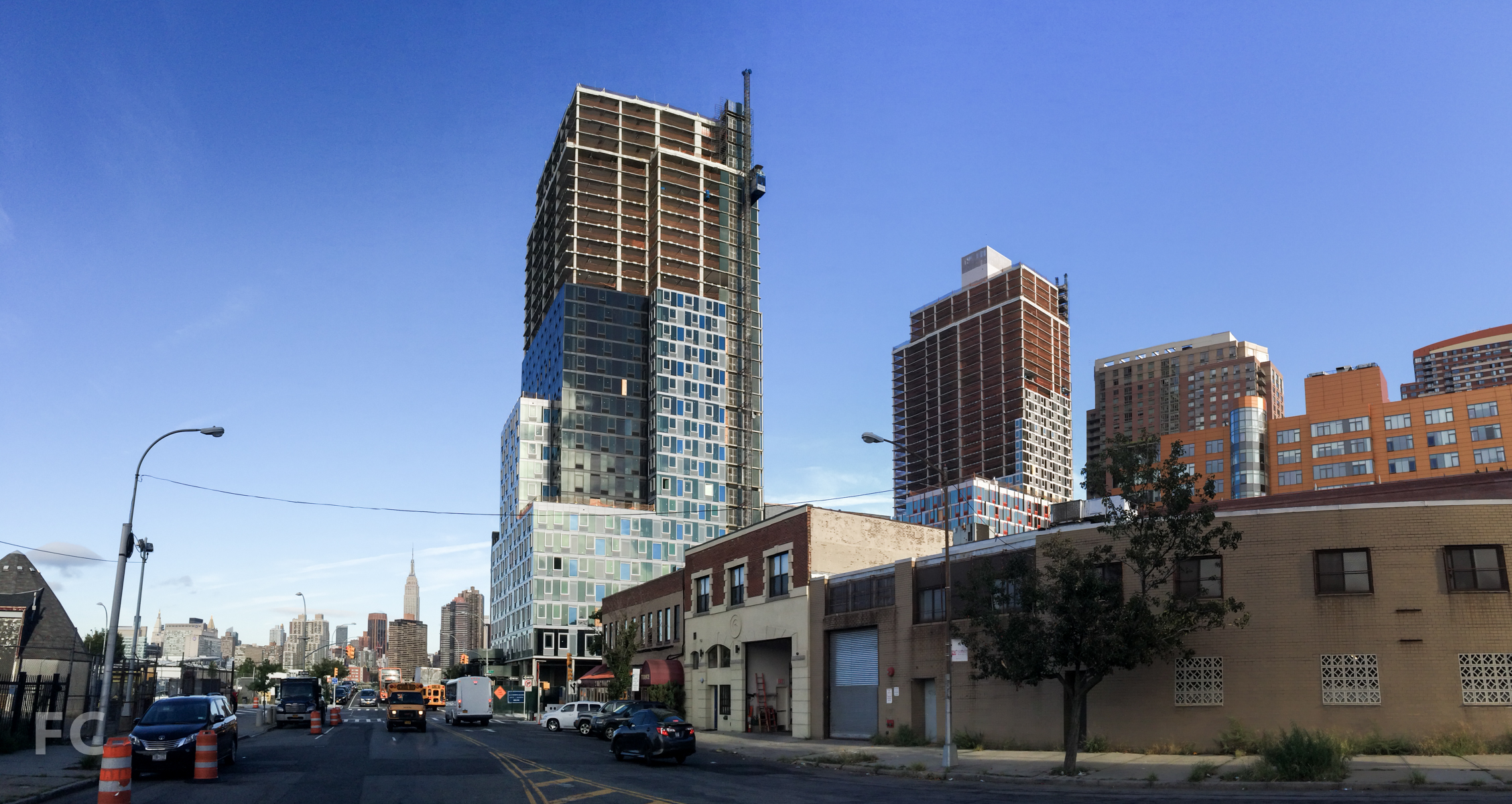 The east façade of Building A (right) and Building B (left) from Borden Avenue.