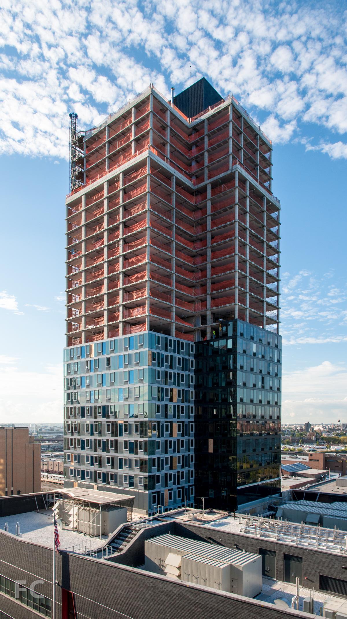 The northwest corner of Building B.