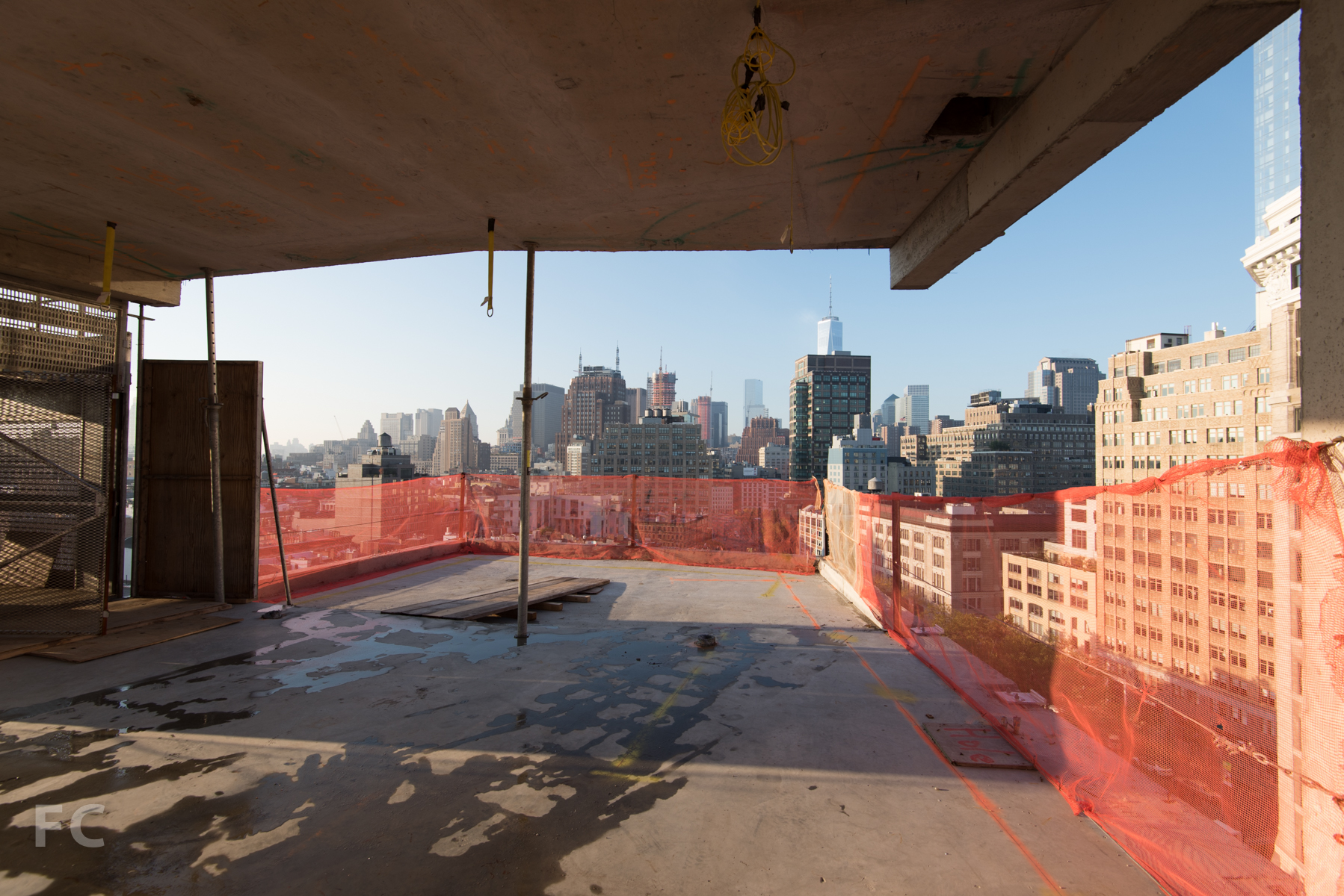Looking south towards the outdoor terrace from the living room of Penthouse A.