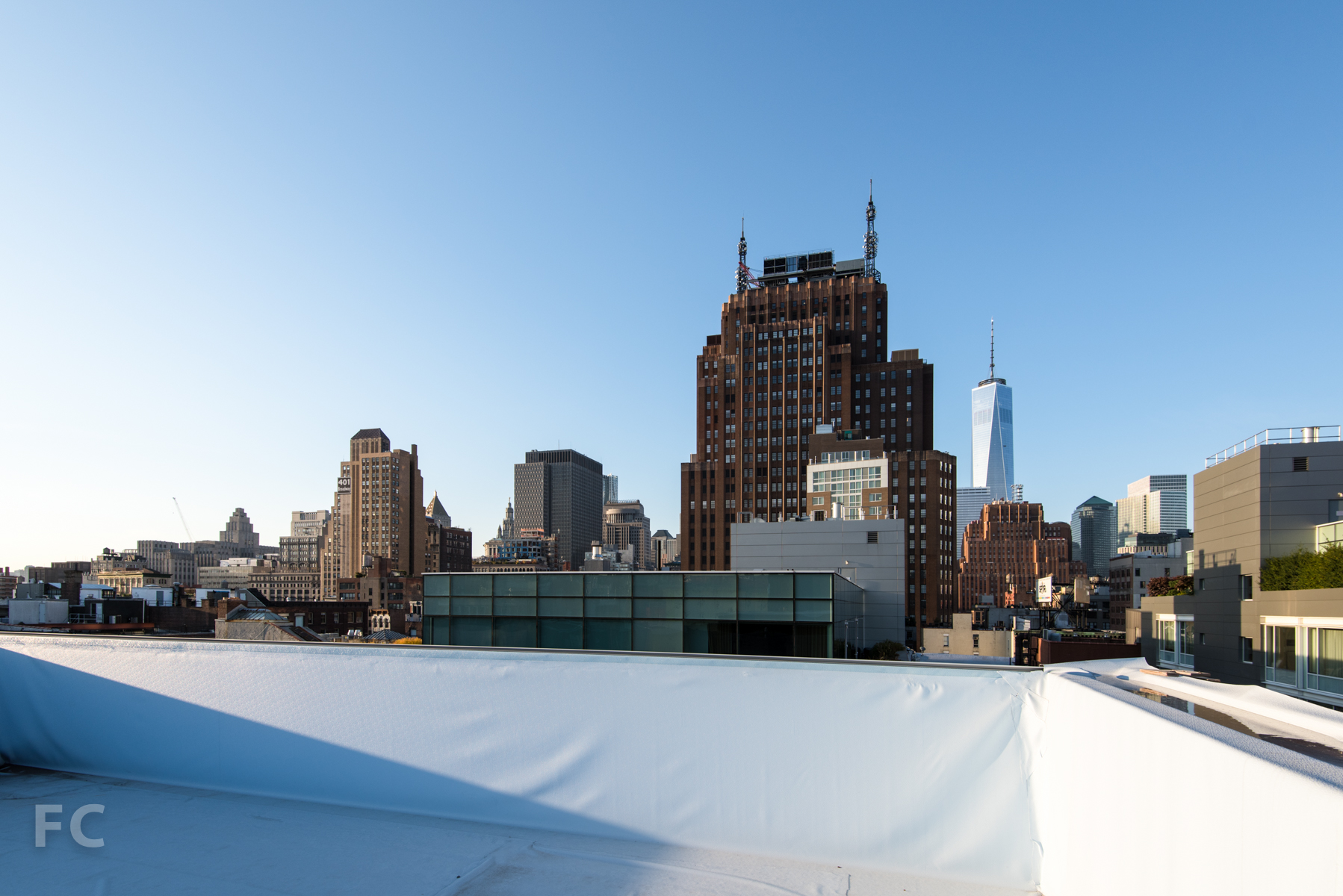View to Lower Manhattan from the pool on the penthouse roof deck.