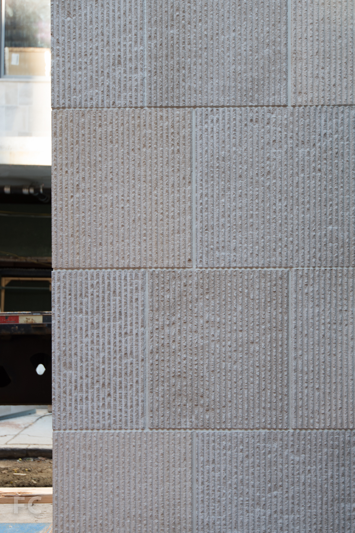 Limestone façade panel detail.