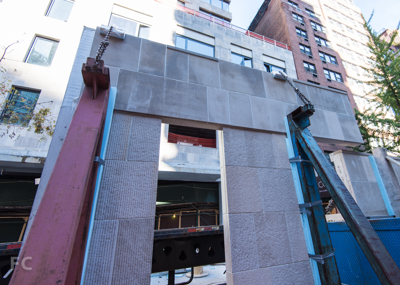 Limestone façade panel.