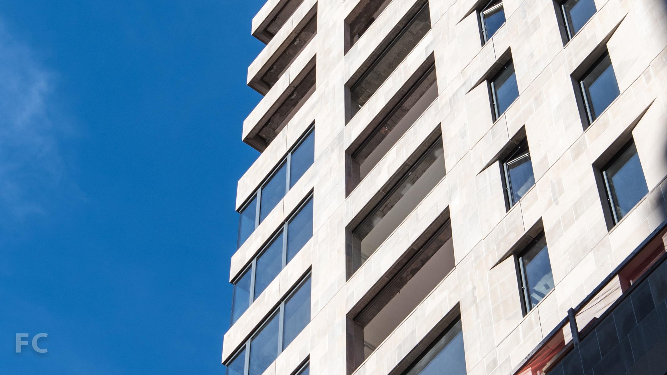 Southwest corner façade detail.