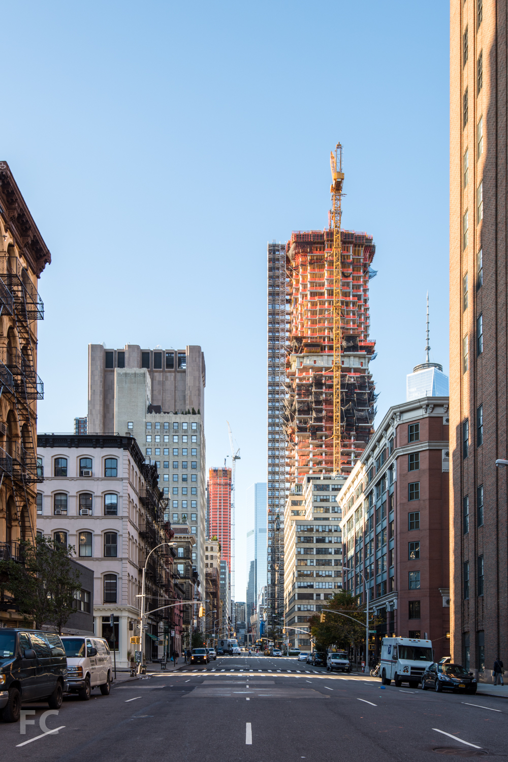 Looking south on Church Street with 56 Leonard, right, and 30 Park Place, left.
