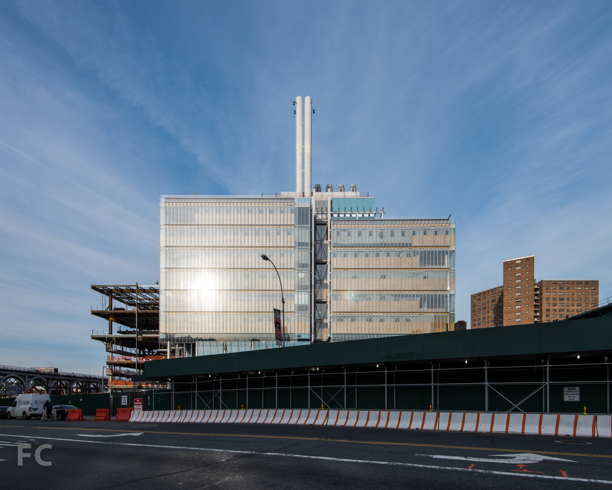 South facade of the Science Center (right  ) and the Center for the Arts (left  )  from West 125th Street.