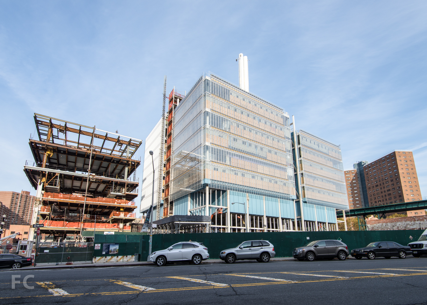South facade of the Science Center (right) and the Center for the Arts (left)from West 125th Street.