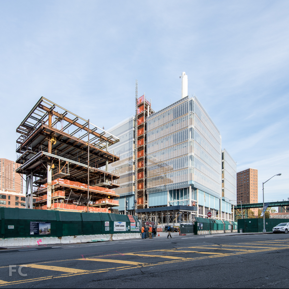Southwest corner   of the Science Center (right  ) and the Center for the Arts (left  )  from West 125th Street.