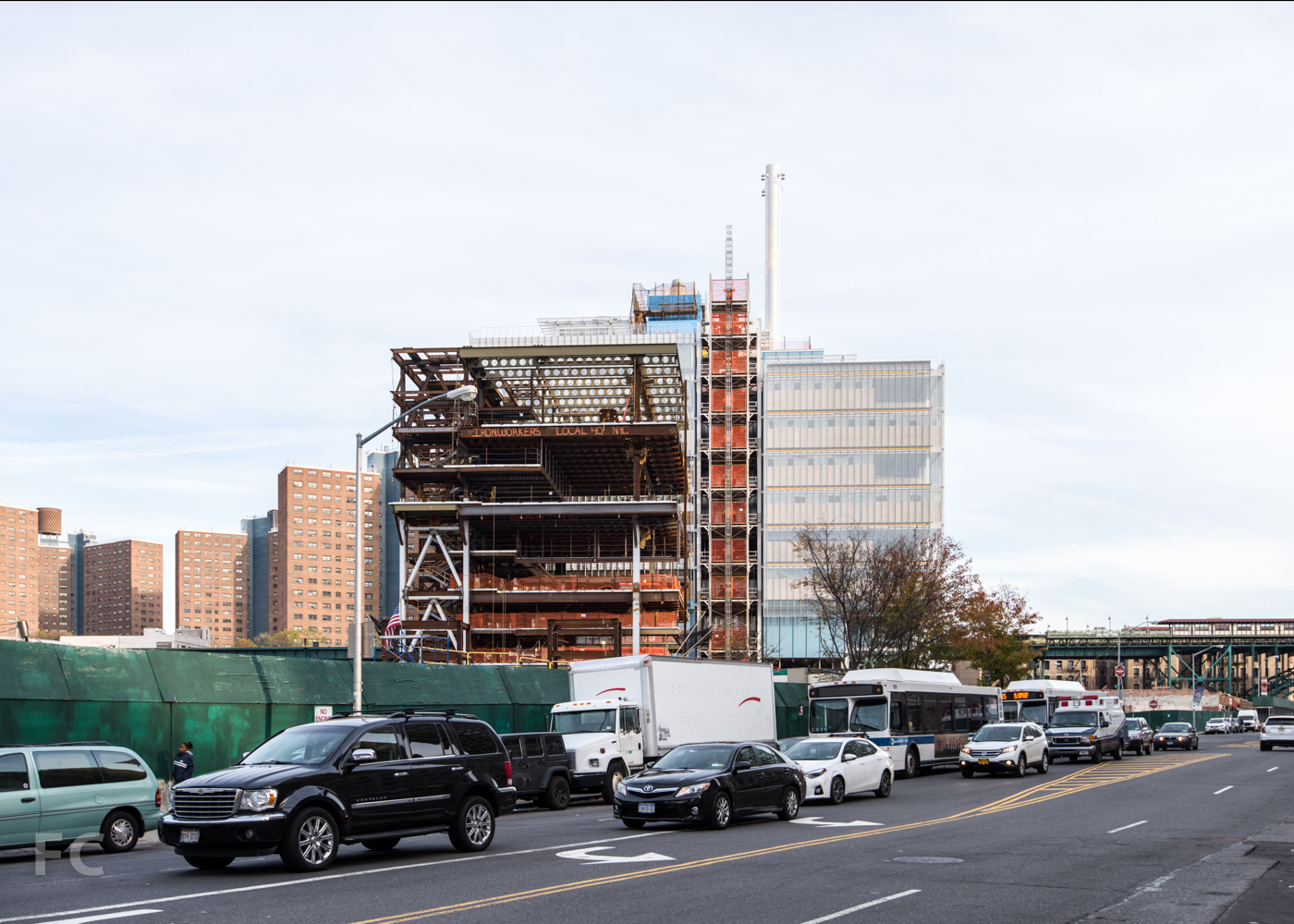 West facade  of the Science Center (right) and Center for the Arts (left) from West 125th Street.
