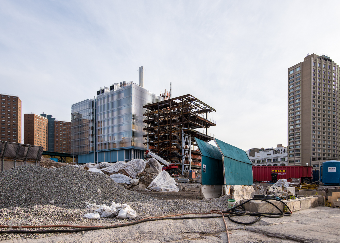 Northwest corner  of the Science Center (left) and Center for the Arts (right) from West 131st Street.