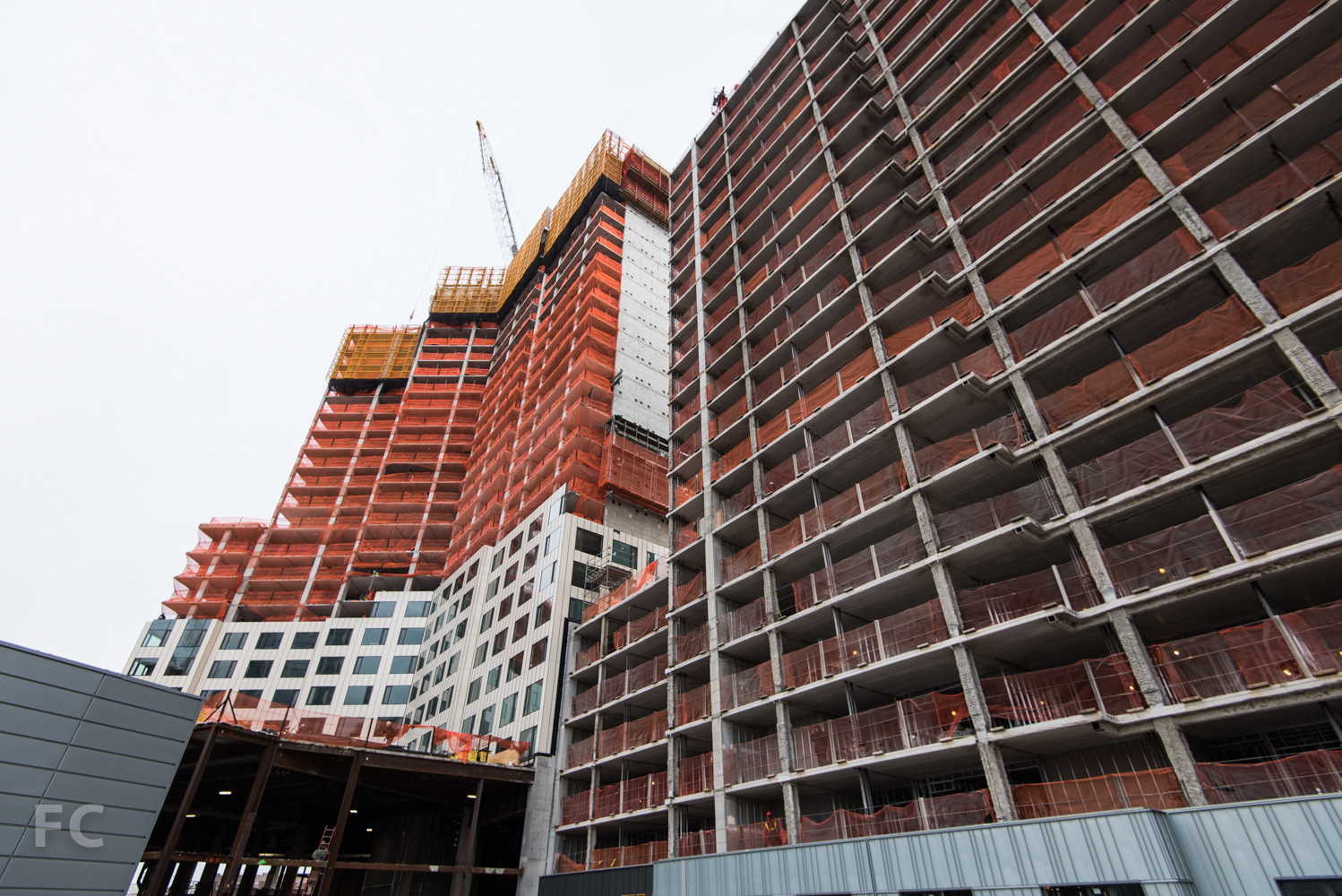 West facade of Phase Two's affordable housing (right) and market rate (left) towers.
