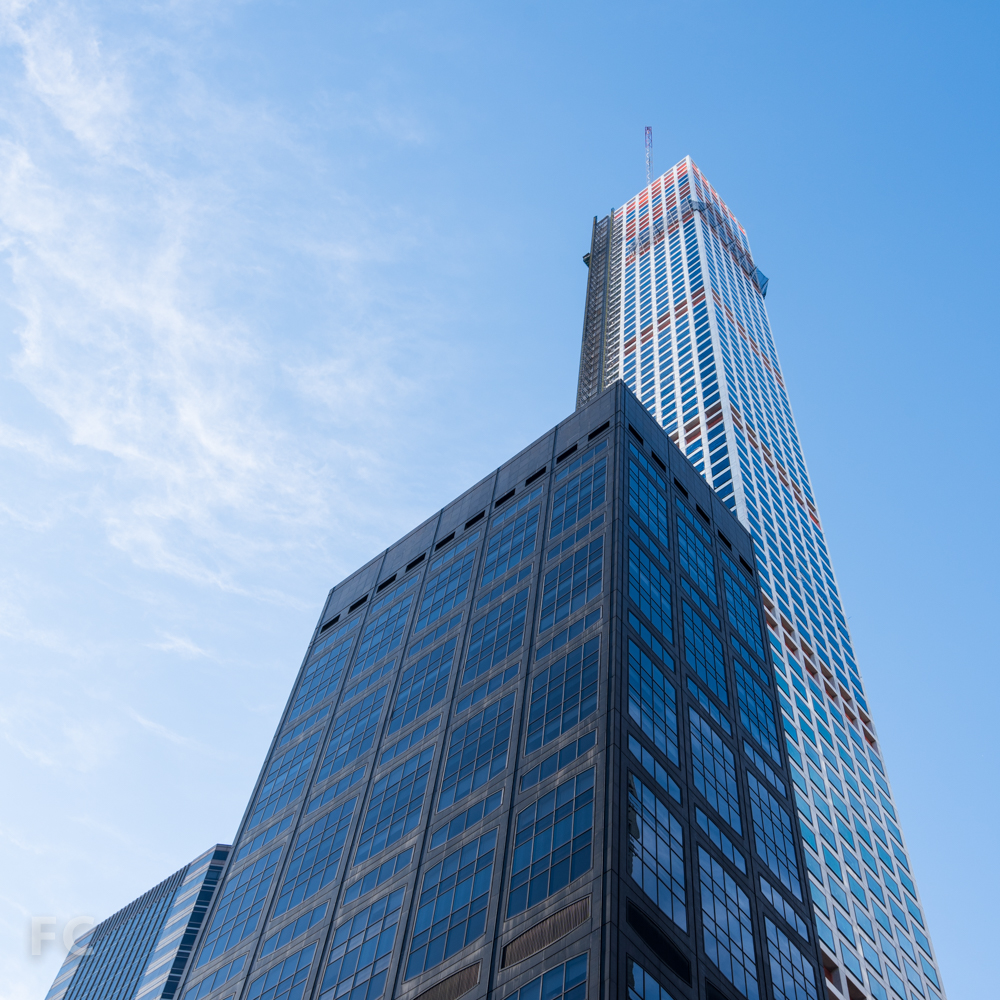 Northeast corner of the tower and 450 Park Avenue.