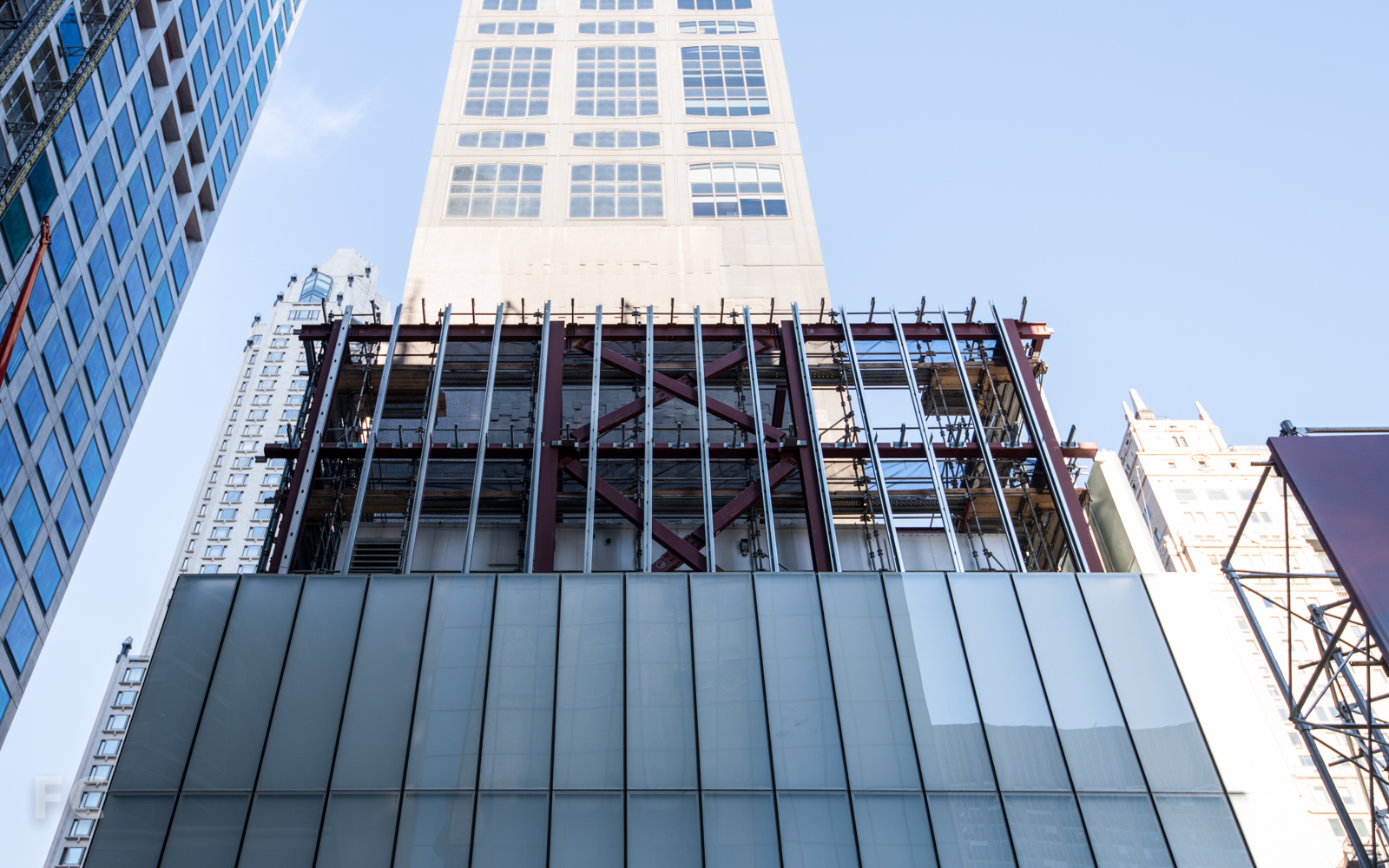 South facade of the retail pavilion from East 56th Street.