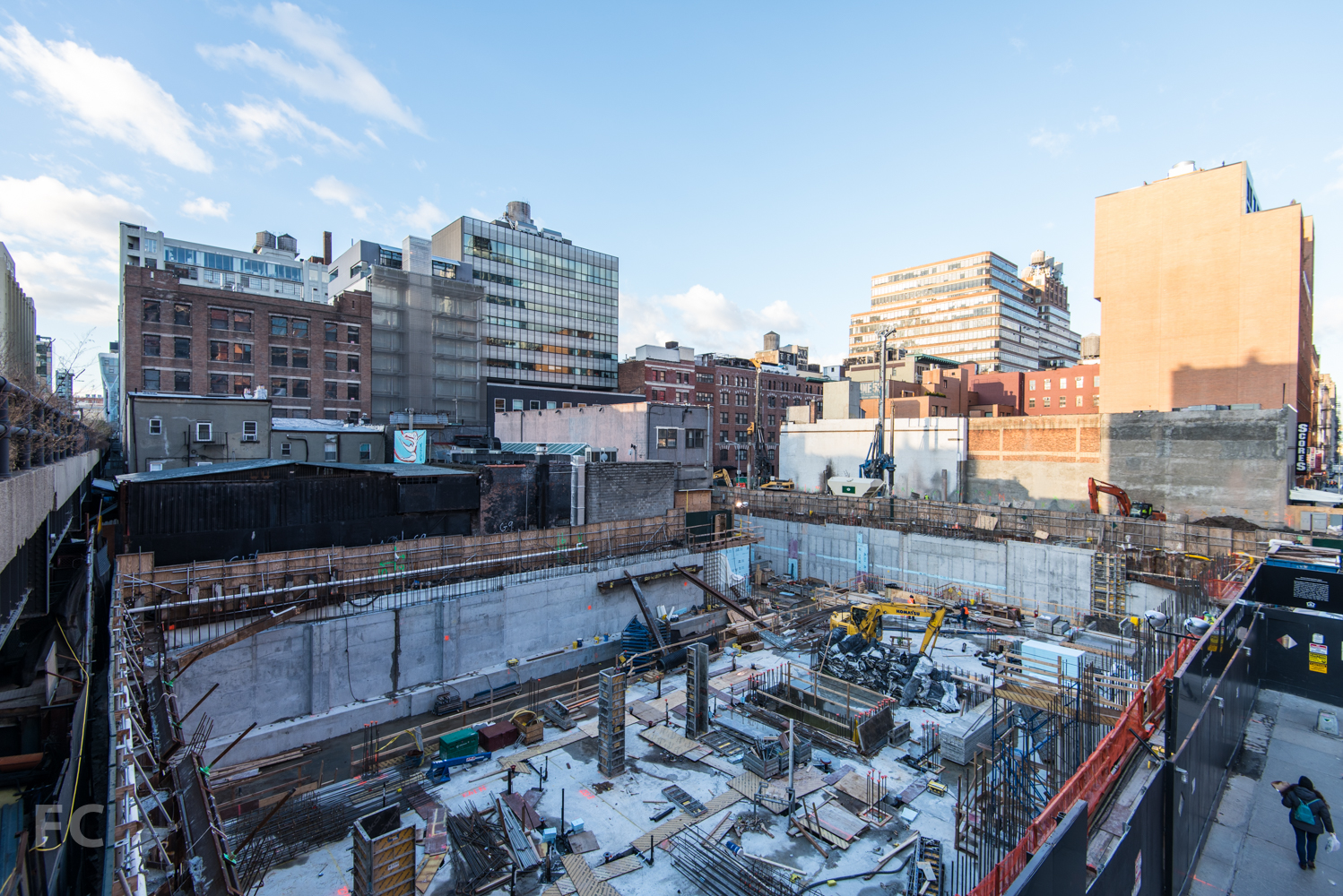 Northeast corner of the site from the High Line's West 28th Street stairs.