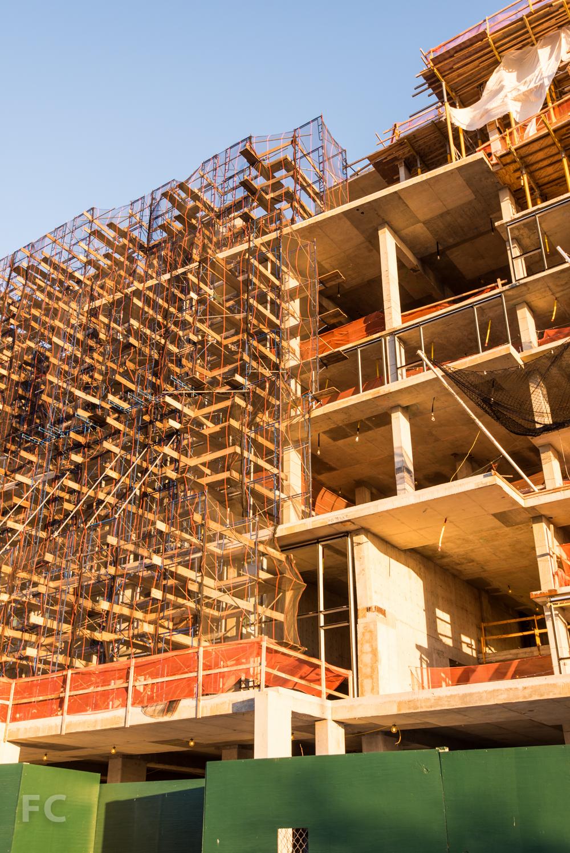 Facade scaffolding going up at the Pierhouse's condo building.