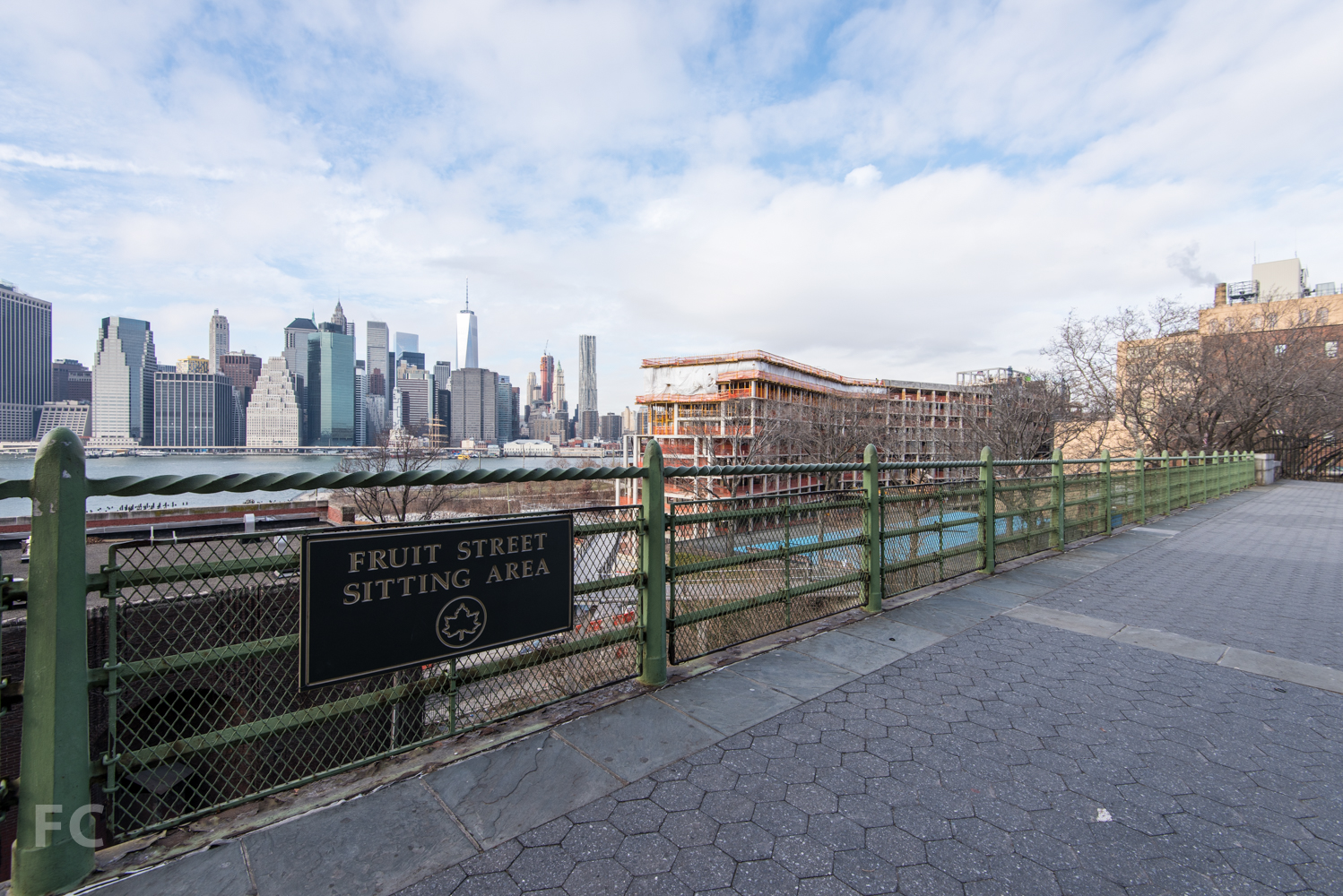Looking west from the Brooklyn Heights Promenade towards  Pierhouse (foreground) and Lower Manhattan (background).