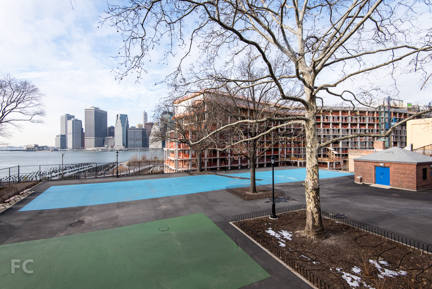 Looking west from Squibb Park towards  Pierhouse (foreground) and Lower Manhattan (background).