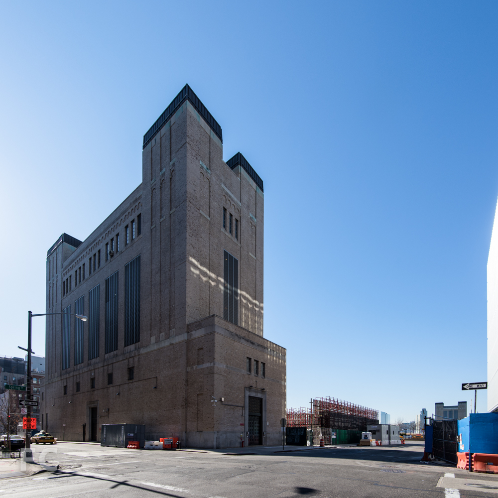 Northeast corner of salt shed (right) and the New York Land Ventilation Building for the Holland Tunnel (left).