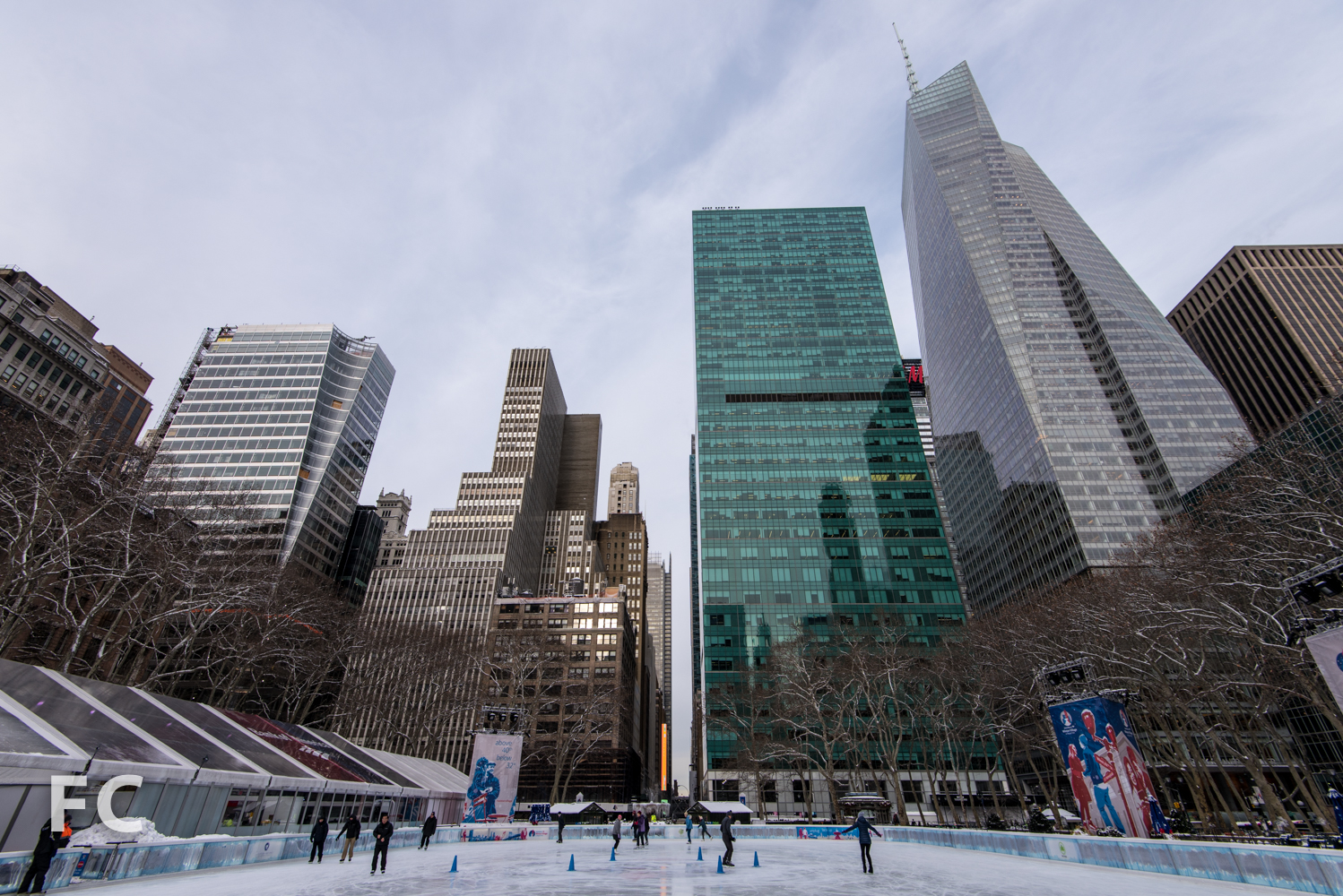 Looking west from Bryant Park with One Bryant Park (far right) and 7 Bryant Park (far left).