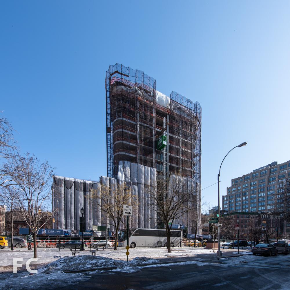 West façade from SoHo Square park.