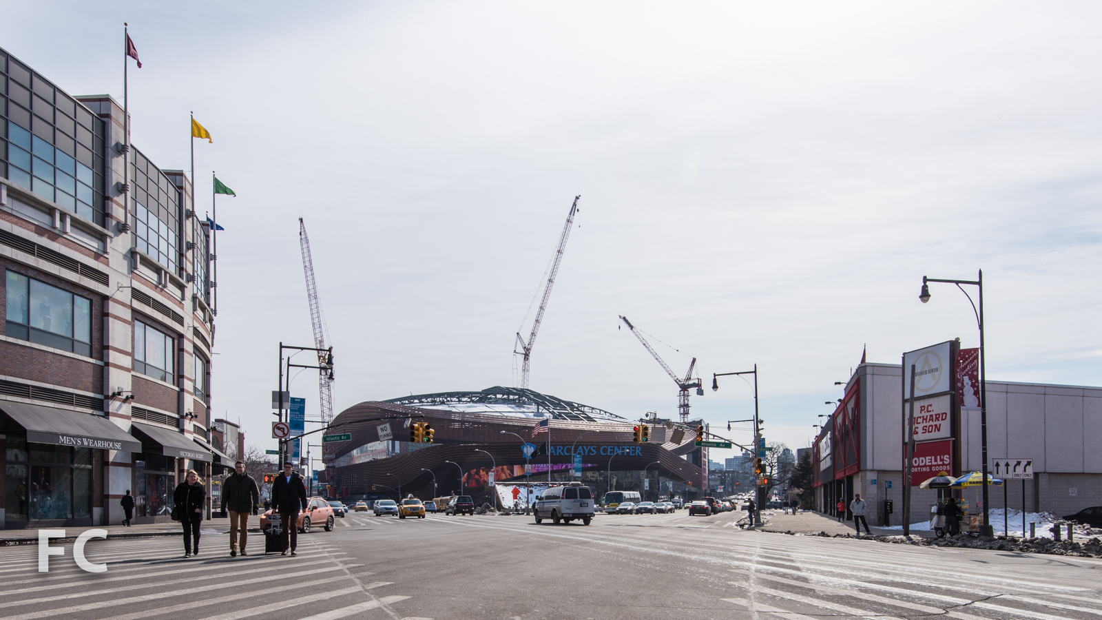 Looking towards Barclays Center from the intersection of Flatbush and Atlantic Avenues.