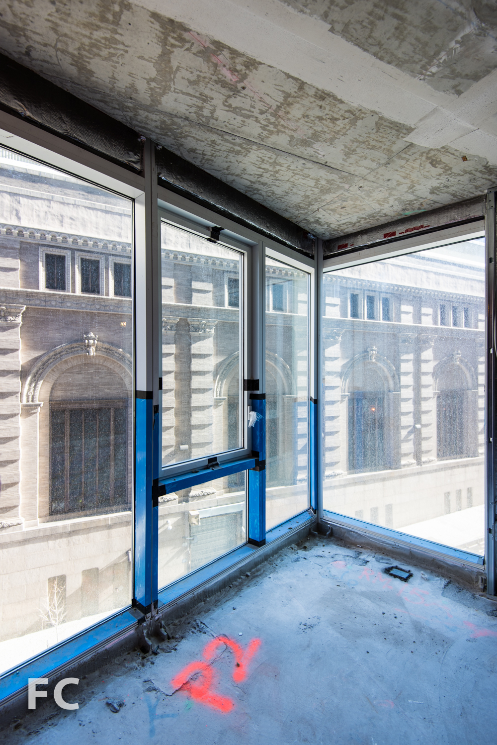 View from a corner window along the north facade.