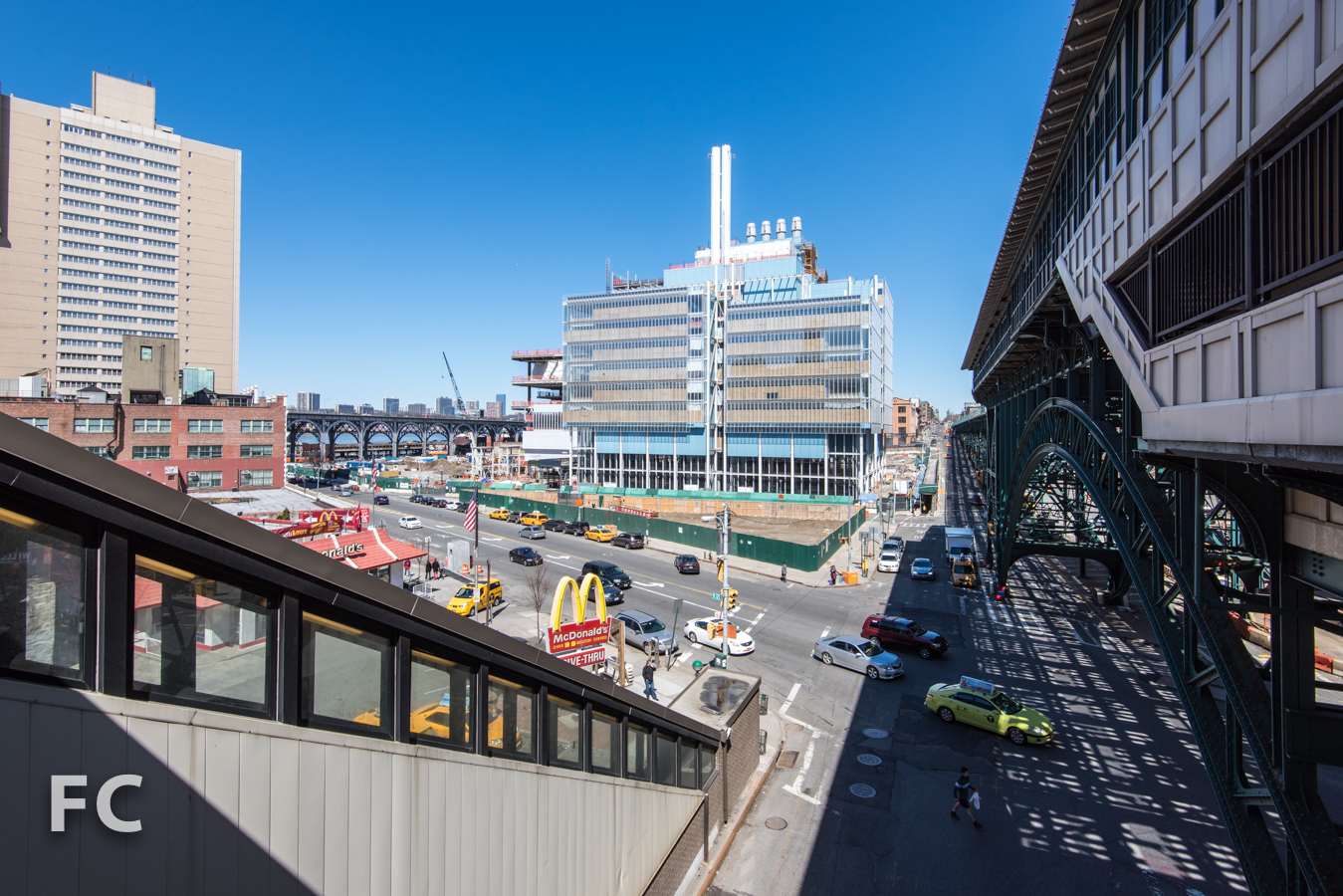 South facade of the Science Center from the 125th Street subway station.