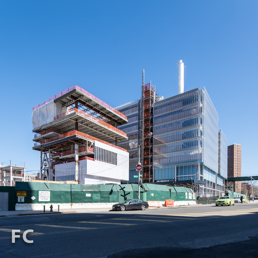 Southwest corner of the Science Center (right) and the Center for the Arts (left) from West 125th Street.