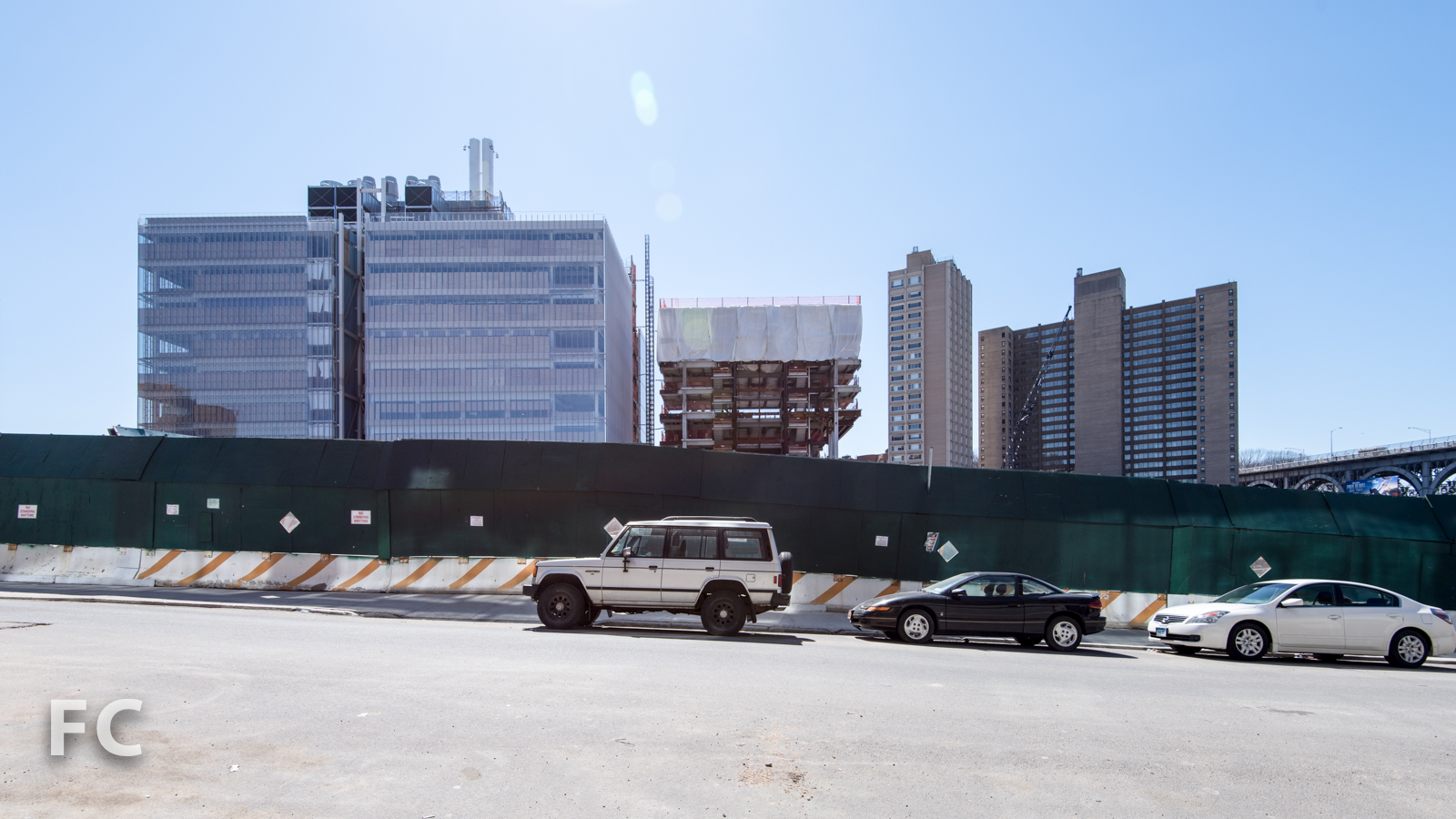 North facade of the Science Center (left) and the Center for the Arts (right) from West 131st Street.