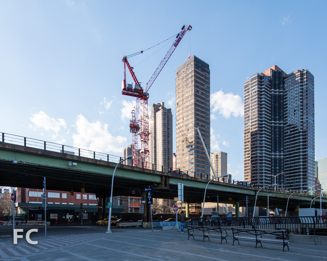 Looking west toward the site from the East River Esplanade.