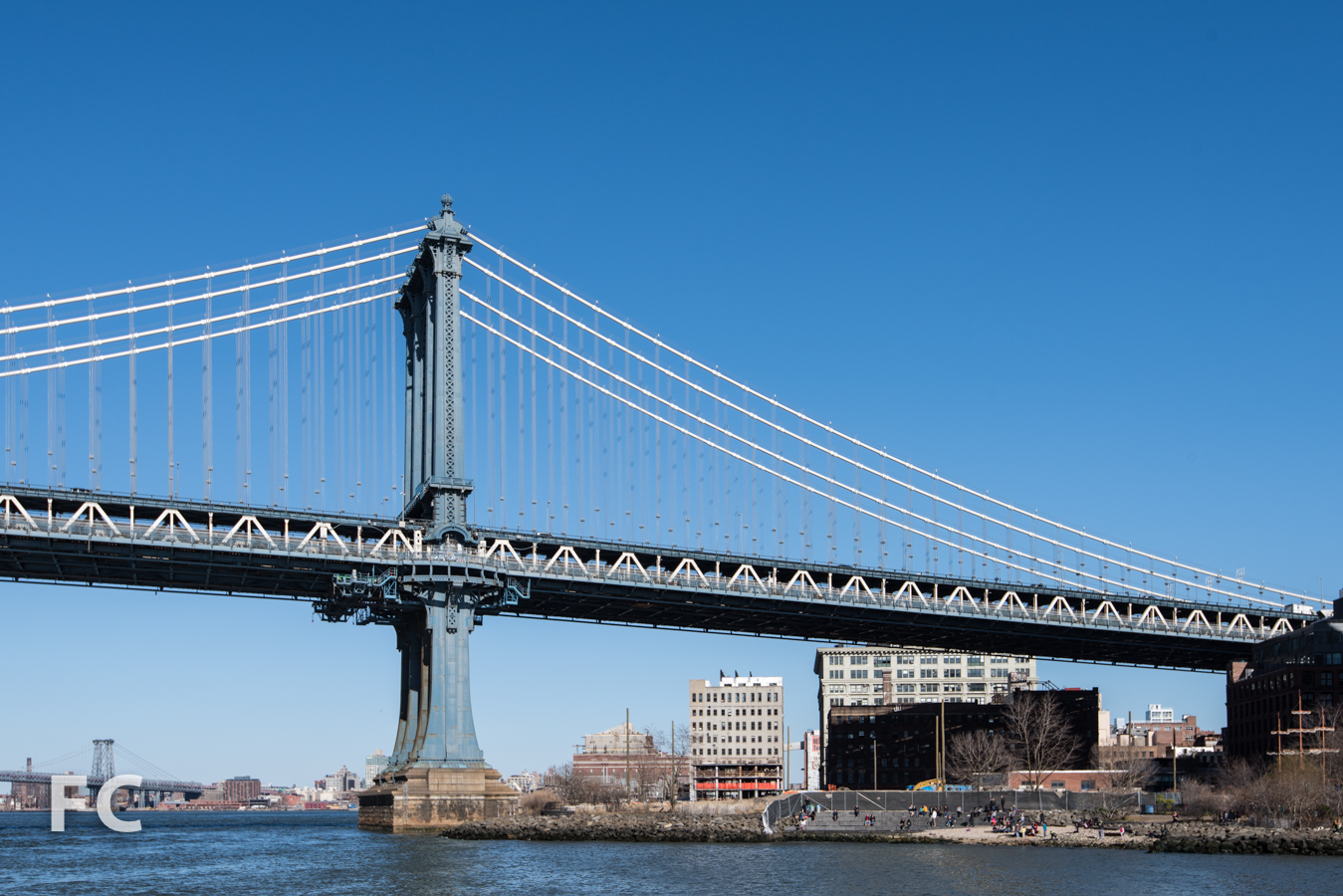 Looking east towards the Manhattan Bridge with the west facade of 1 John Street (center).