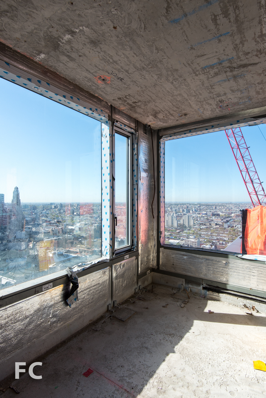 View from a corner unit in the market rate tower.