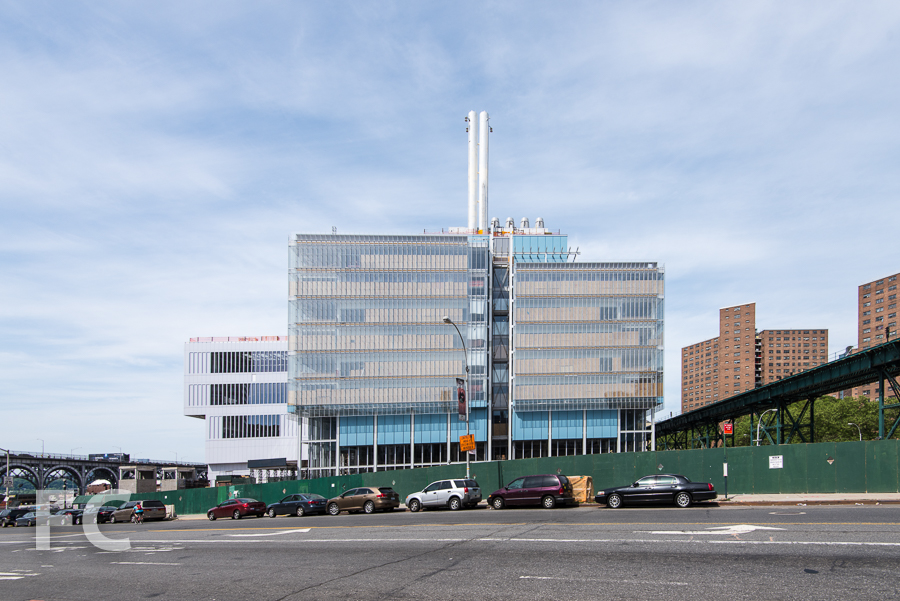 South facade of the Science Center (right) and the Center for the Arts (left) from West 125th Street.