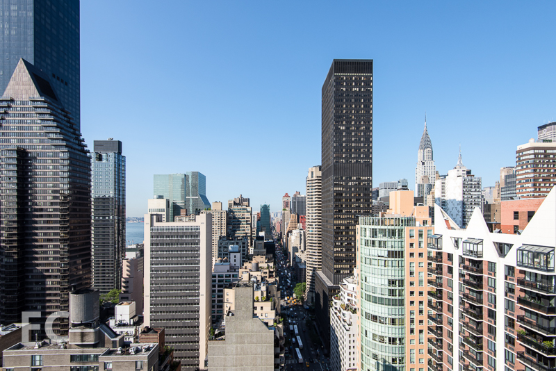 Looking south towards Midtown East from the mechanical platform. Notable buildings include theEmpire State Building (far right),Chrysler Building (right), 50 UN Plaza (far left).