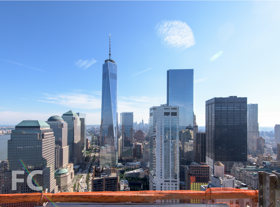 The view north towards the World Trade Center sitefrom the 50th floor.