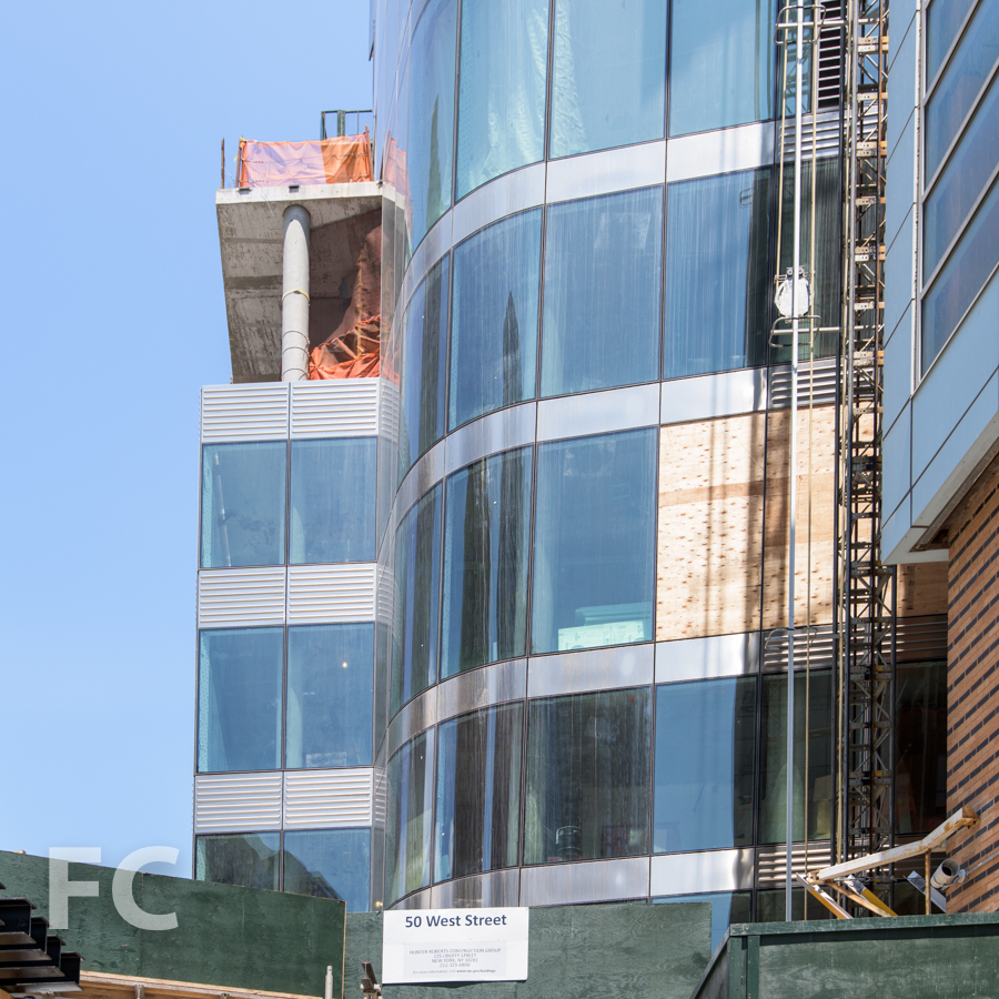 Close up view of the curtain wall on the southwest corner.