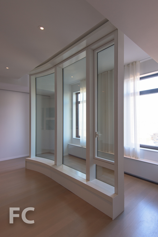 Curtain wall mockup in the sales gallery.