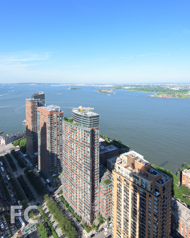 Looking south towards Battery Park City and the Statue of Liberty.