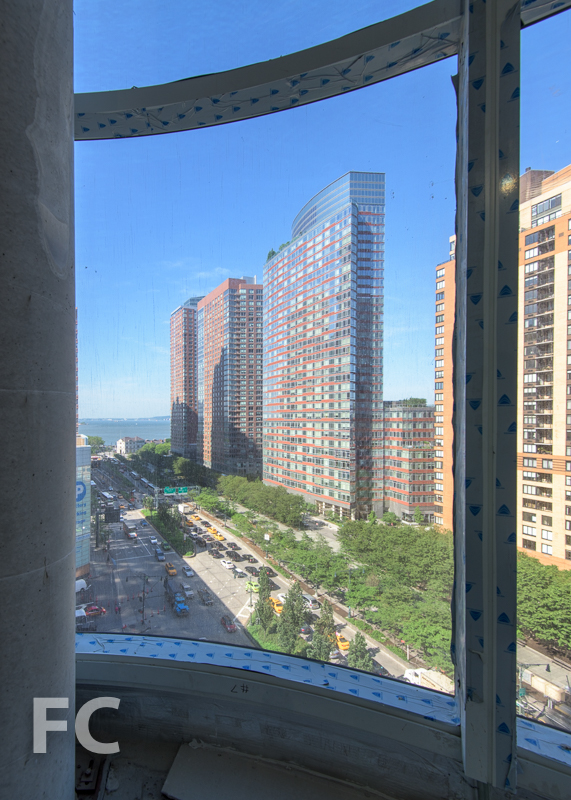 The view south from the double height living space of a duplex unit.