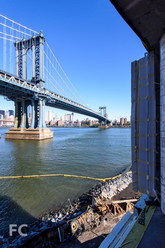 View of the Manhattan Bridge from a lower floor.