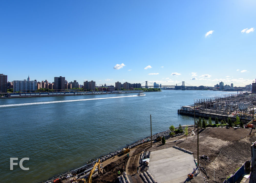 Looking northeast towards the Lower East Side and the Williamsburg Bridge.
