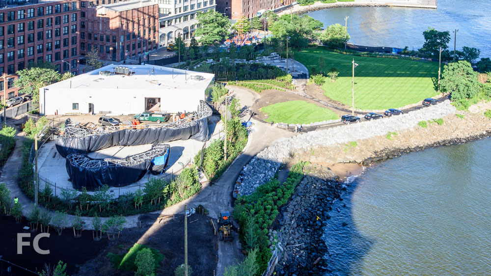 View of the John Street park currently under construction.