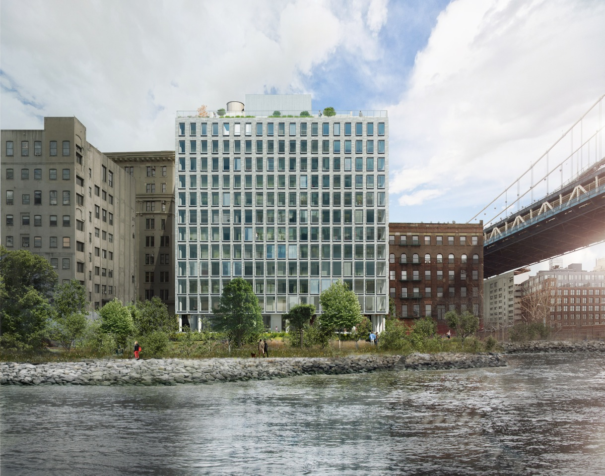 Rendering of the north facade from the East River.