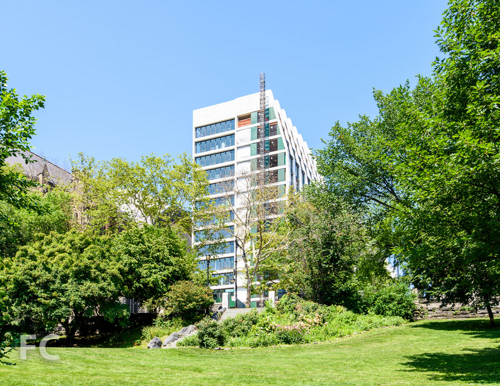 A view of the east tower from Morningside Park.