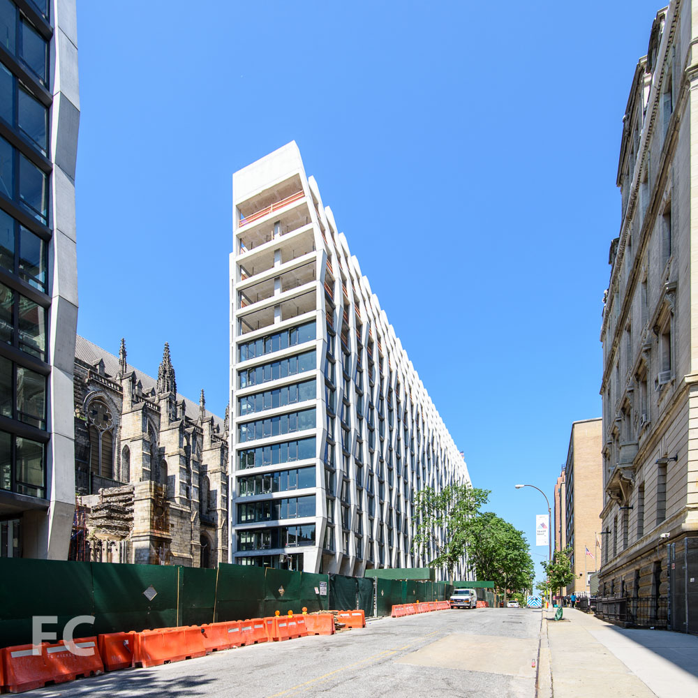 Northeast corner of the west tower from West 113th Street.