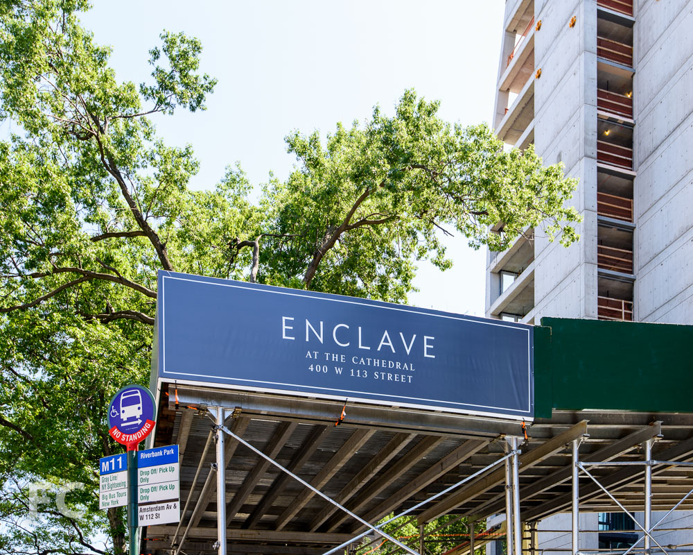 New site signage for the building identity.
