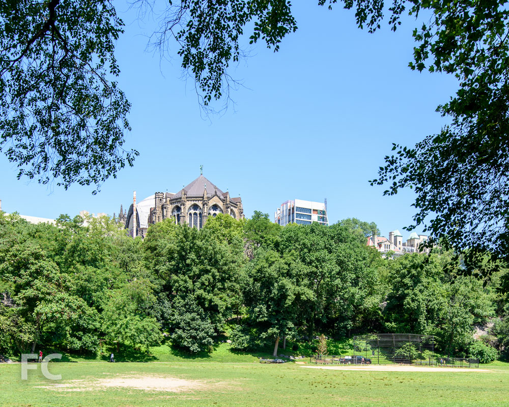 A southeast view of the east tower (right) and the cathedral (left)from Morningside Park.